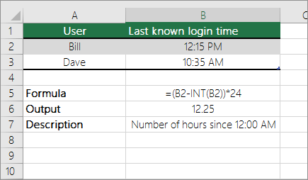 Example Convert Hours From Standard Time Format To A Decimal Number