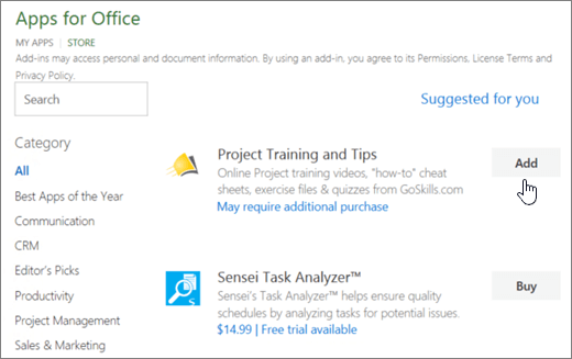 Screenshot of the Office Add-ins page in the Store where you can select or search for an add-in for Project.
