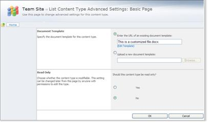 List content type advanced settings