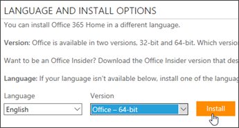 Screenshot showing Language and version options and Install button