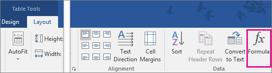 The Formula option is highlighted on the Table Tools Layout tab.