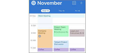 Outlook calendar with color coded events