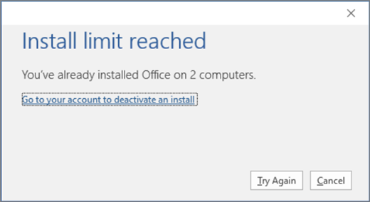 "Shows the ""Install limit reached"" error message"