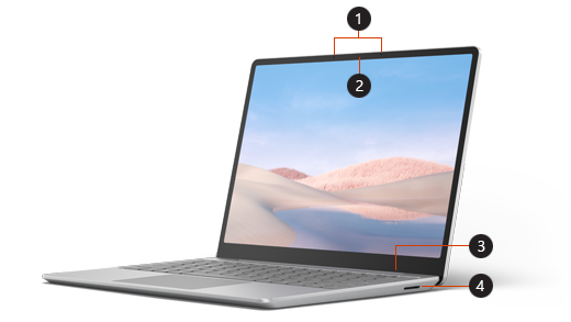 Callouts for the front of Surface Laptop Go
