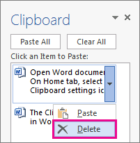 Deleting an item from the Word 2013 clipboard