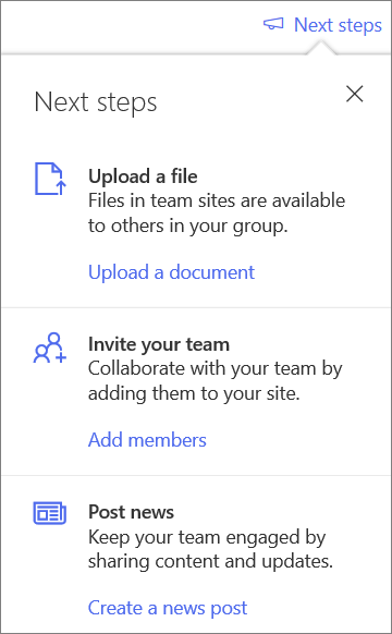 The Next Steps pane after creating a new Shared Library in OneDrive for Business