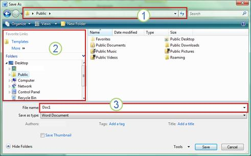 Windows Vista and Windows 7 Save As dialog