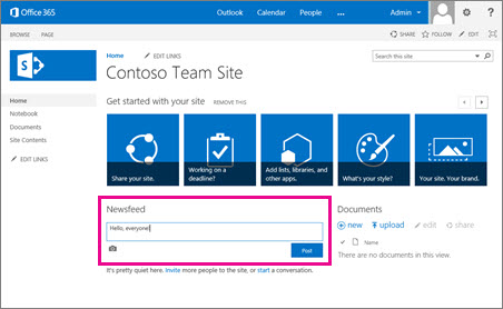 The SharePoint Newsfeed comes automatically with team sites