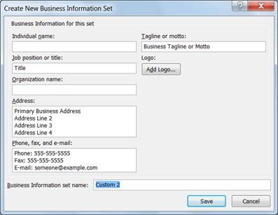 Create new business information set in Publisher 2010
