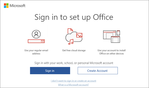 "Shows the ""Sign in to set up Office"" page that might appear after you install Office"