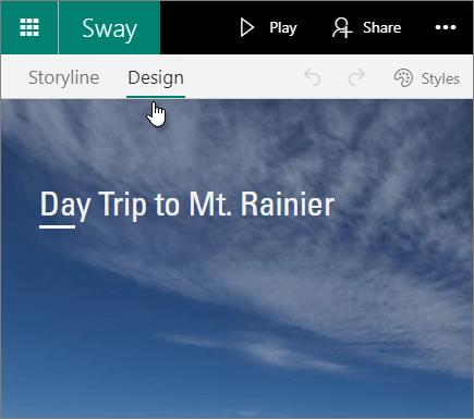 Sway Design tab.
