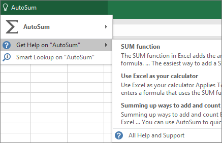 Getting help in Excel