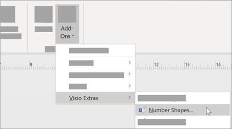 Under the View tab, select Add-Ons > Visio Extras > Number Shapes to add number formatting.