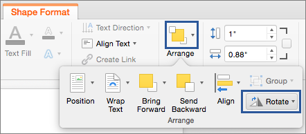 Rotate button on the Arrange menu