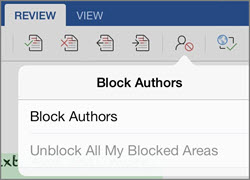The Block Authors dialog