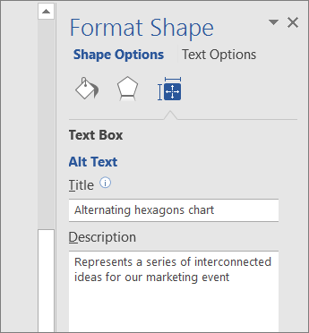Alt Text area of the Format Shape pane describing the selected SmartArt graphic