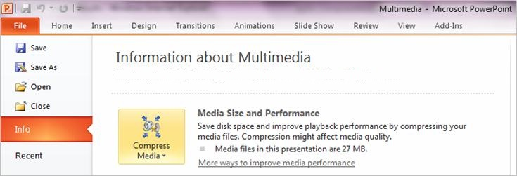 Compress your media files - PowerPoint