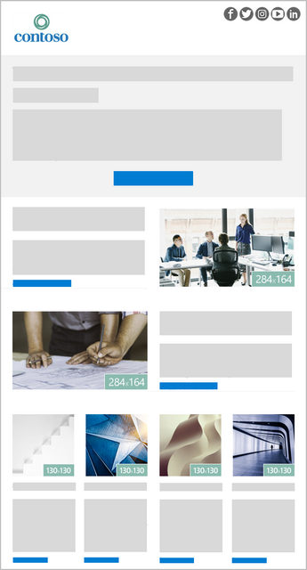 A 6-image Outlook newsletter template