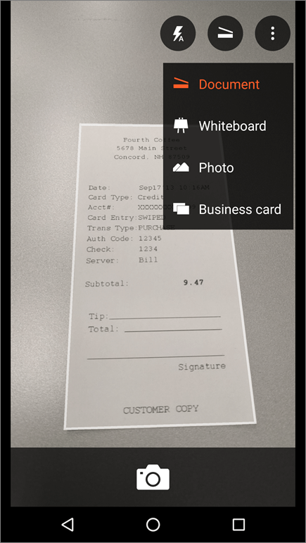 Screenshot of how to capture an image in Office Lens for Android.