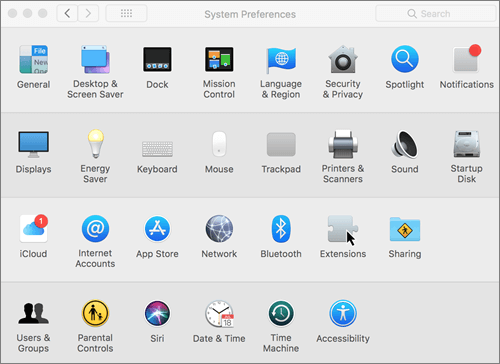 Screenshot of system preferences on a Mac