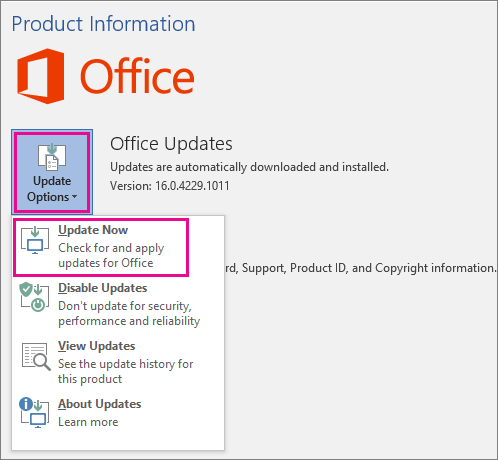 Manually checking for Office updates in Word 2016