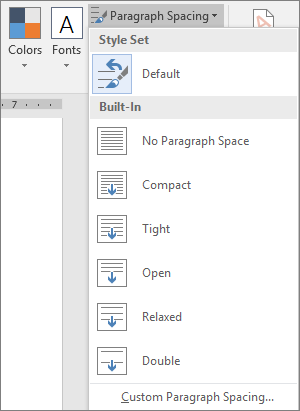 The Paragraph Spacing options are shown on the Design tab.