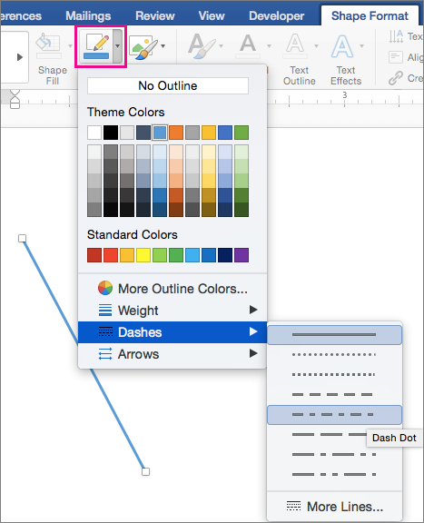Shape Format tab with Shape Outline highlighted and Dashes menu items.