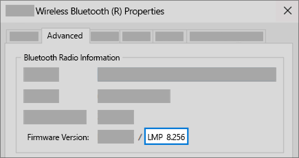 Bluetooth LMP version field in Advanced tab of device manager.