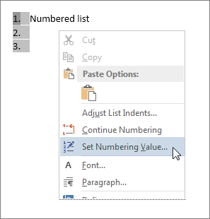 Set Numbering Value on the shortcut menu