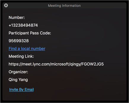 Invite users to a meeting through email