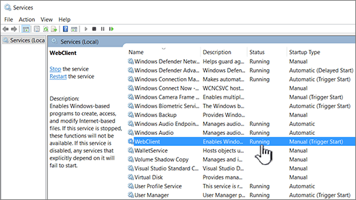 Windows Services dialog with WebClient highlighted