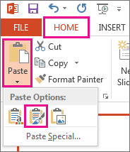 From the Paste menu, choose the Keep Source Formatting icon.