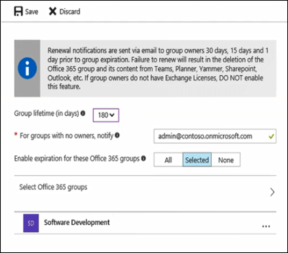 Set your group expiration options