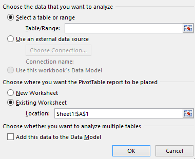 Create PivotTable