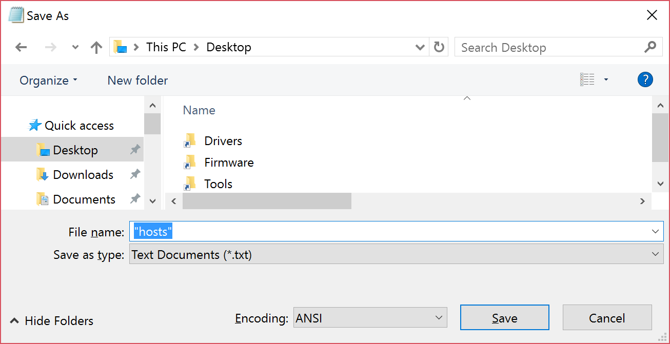 """Screenshot showing how to save the """"hosts"""" file"""