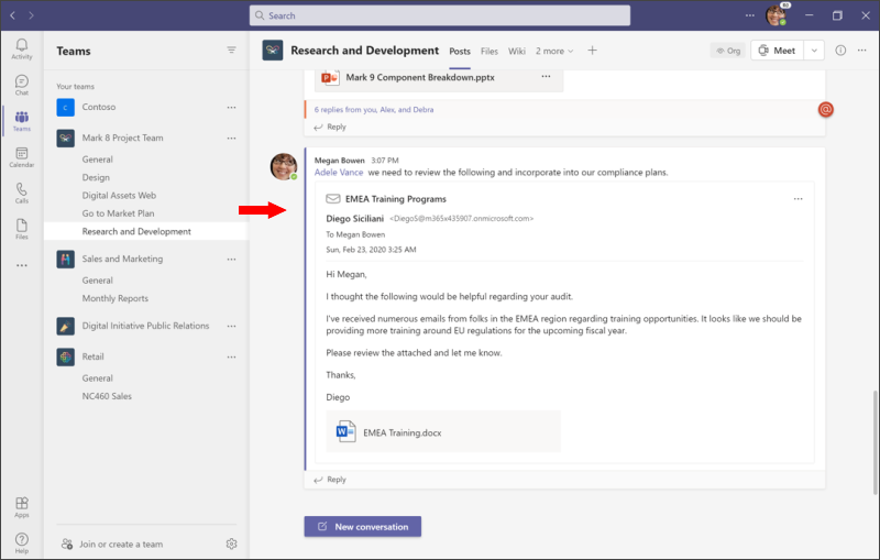 Share to Teams - view email in Teams screenshot