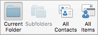 Shows the Contacts search options