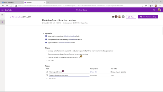 Image shows how you can access Teams meeting notes after a meeting in OneNote.