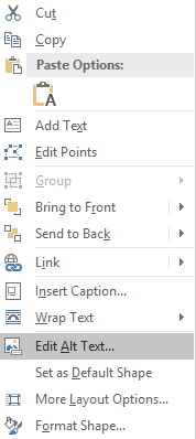 Context menu for shape