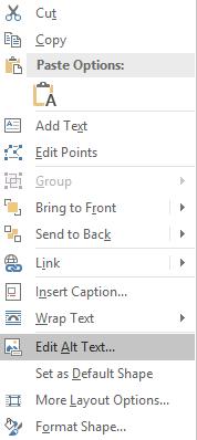 Context menu for shape
