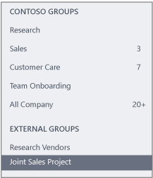 Screenshot of the Yammer navigation bar showing an External Groups section
