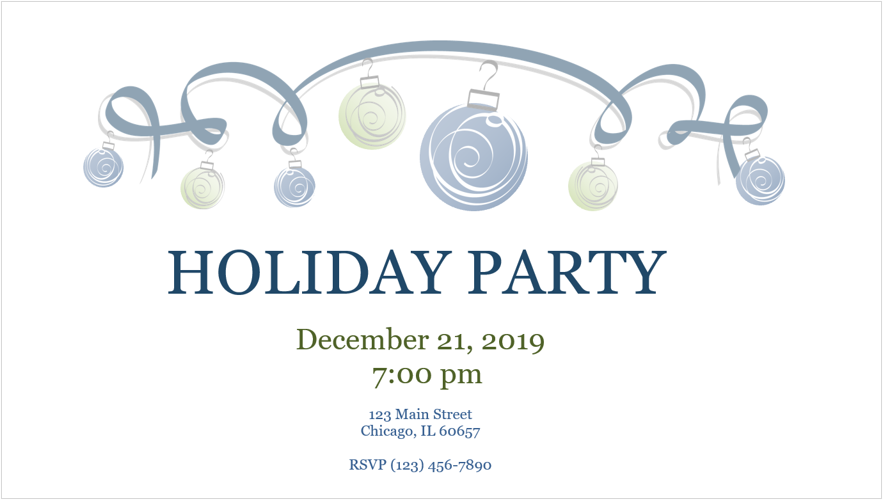 Image of a holiday party invitation
