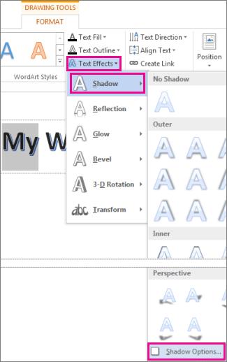 Tex Effects Shadow Shadow Optionscommands