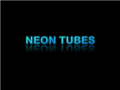 "Glowing ""neon tubes"" text with reflection"