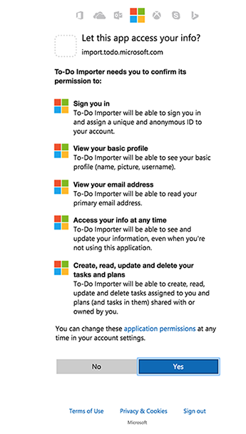 Screenshot showing importer permissions