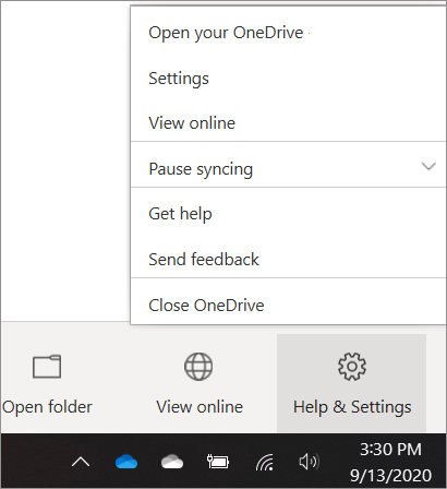 Screenshot of getting to OneDrive Settings