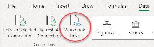 The Workbook Links command on the ribbon