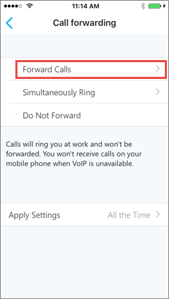 Skype for Business for iOS Call forwarding screen