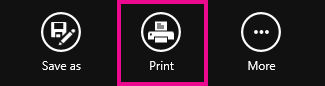 Windows 8 reader print button