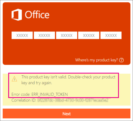 Error code shown when entering an incorrect product key at http://office.com/setup.